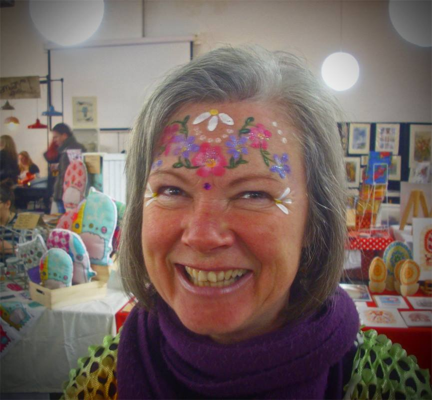 Andy's photo of my self-painted flower power face