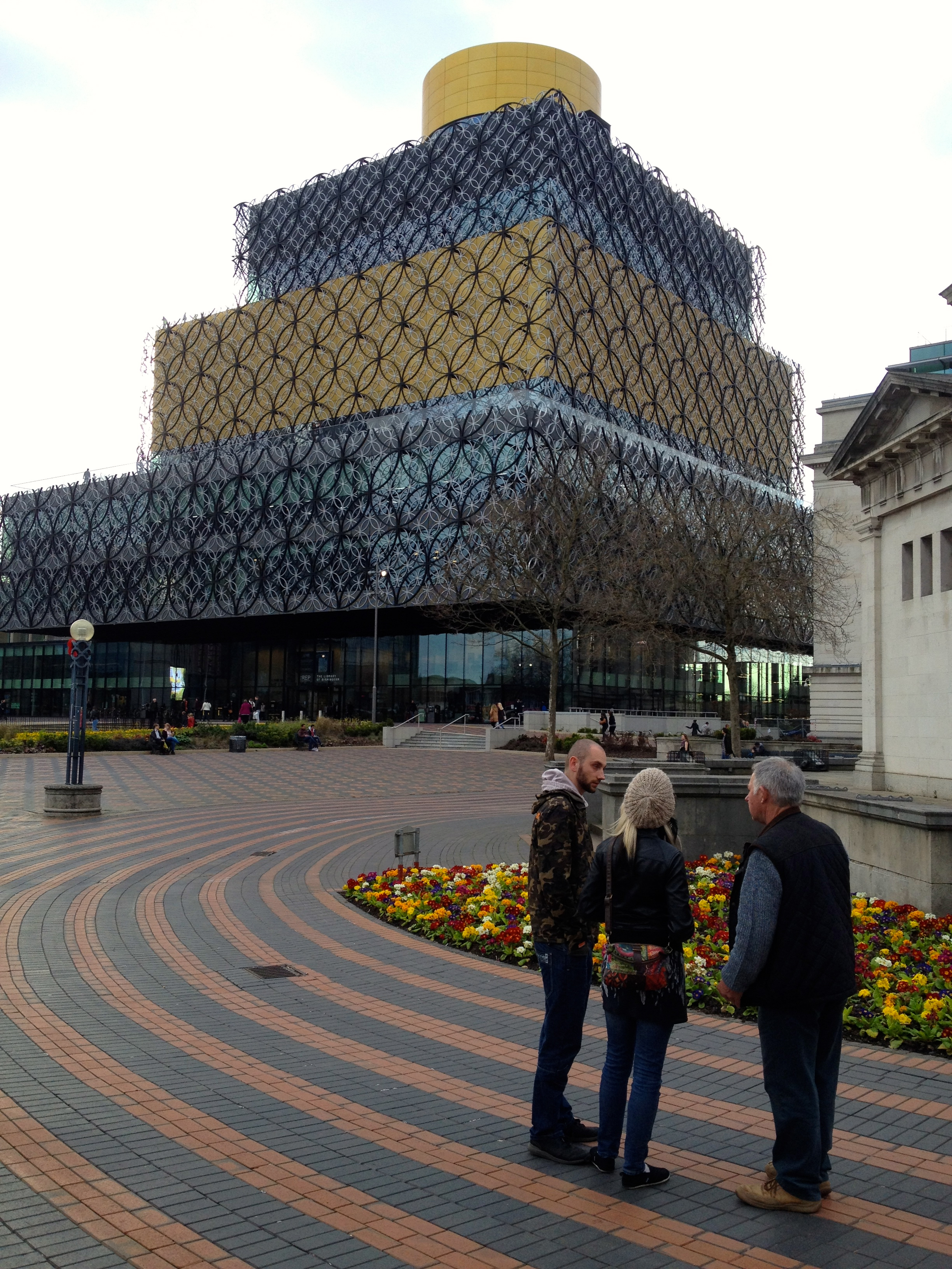 Sean, Kim and Barry by the New library Birmingham