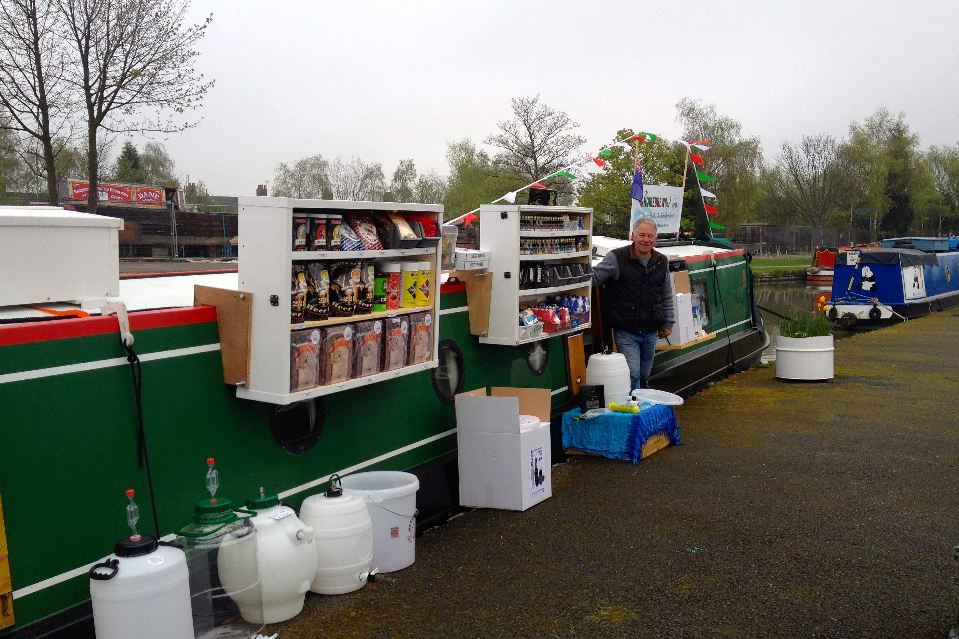 Guess who? Barry's Home Brew Boat of course - selling a multitude of mixes to magically make your own alcoholic beverages