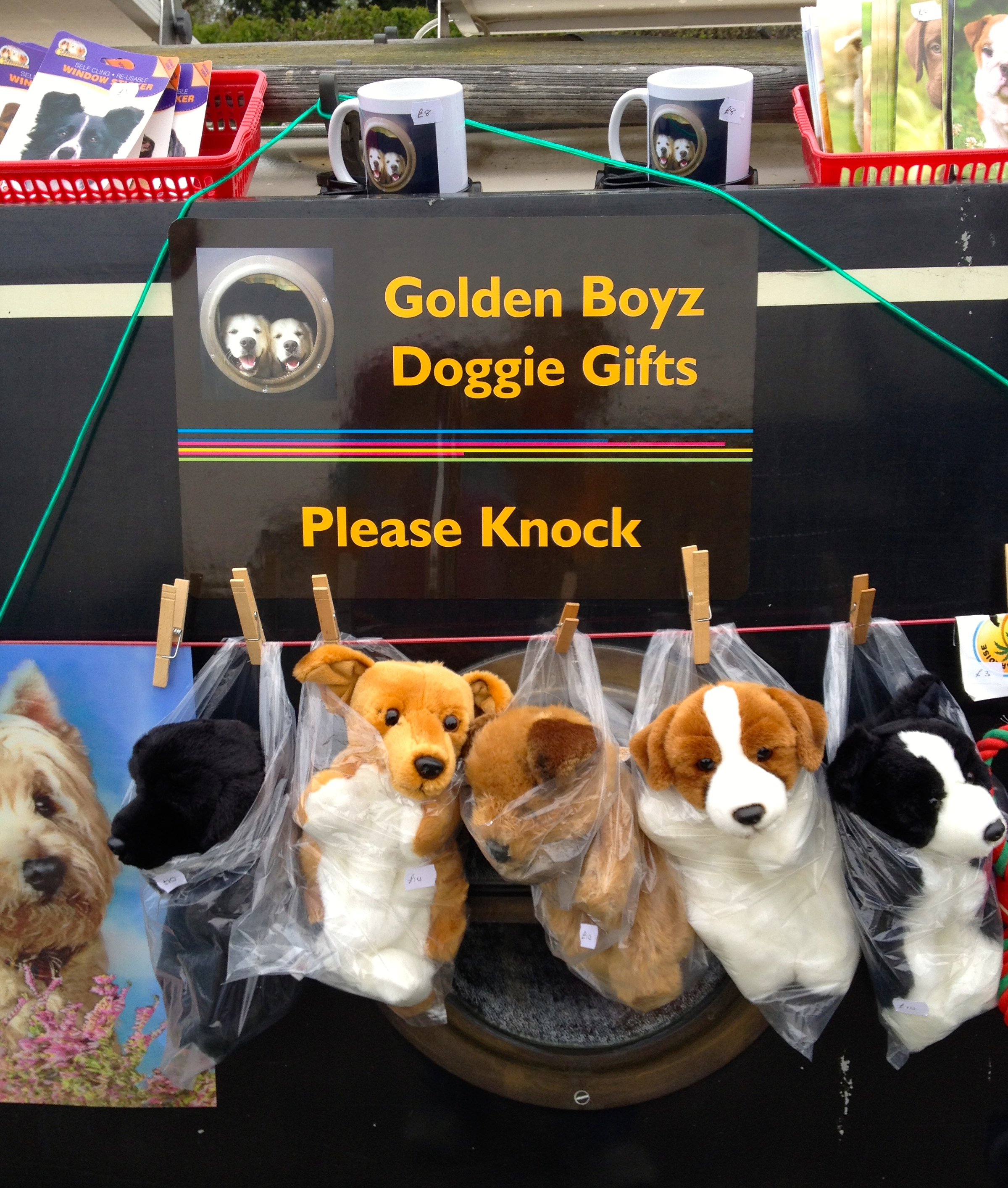 Sandra and her 'Golden Boys' boat full of a vast range of doggie treats - including doggie popcorn, easter eggs and hot cross buns