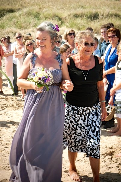 Walking down the sandy aisle, 22nd December 2009, with my NZ 'mum' Therese