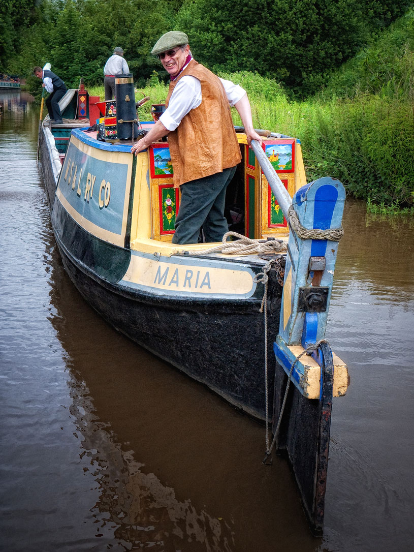 I adore this image! The historic Working Boat Maria glided slowly past, being punted. It's a horse drawn boat, but they couldn't use the horse on this stretch due to the moored boats