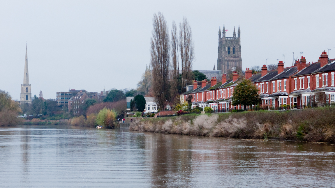 Terraced houses along the river Severn in Worcester