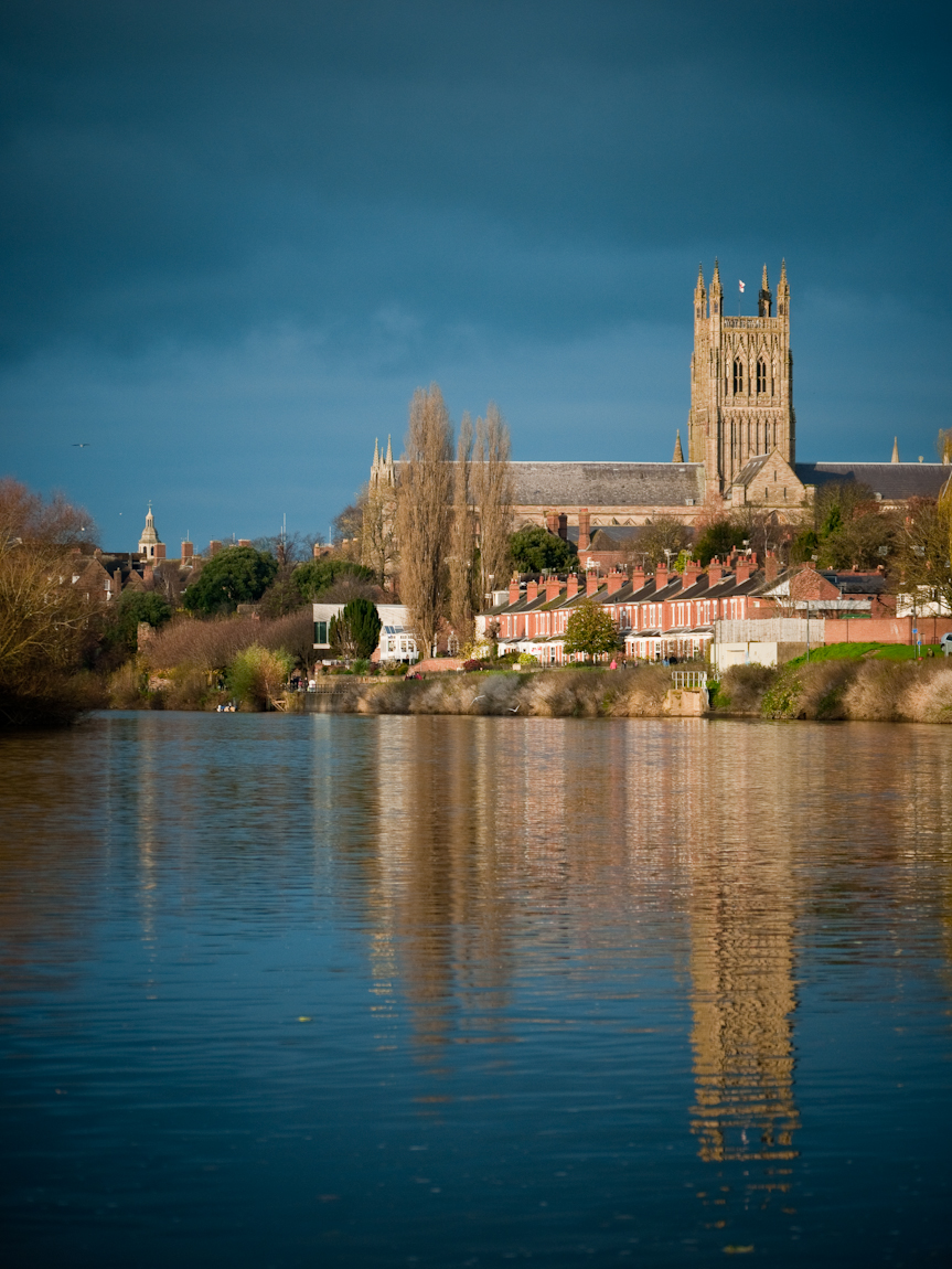 Evening reflections of Worcester Cathedral on the River Severn