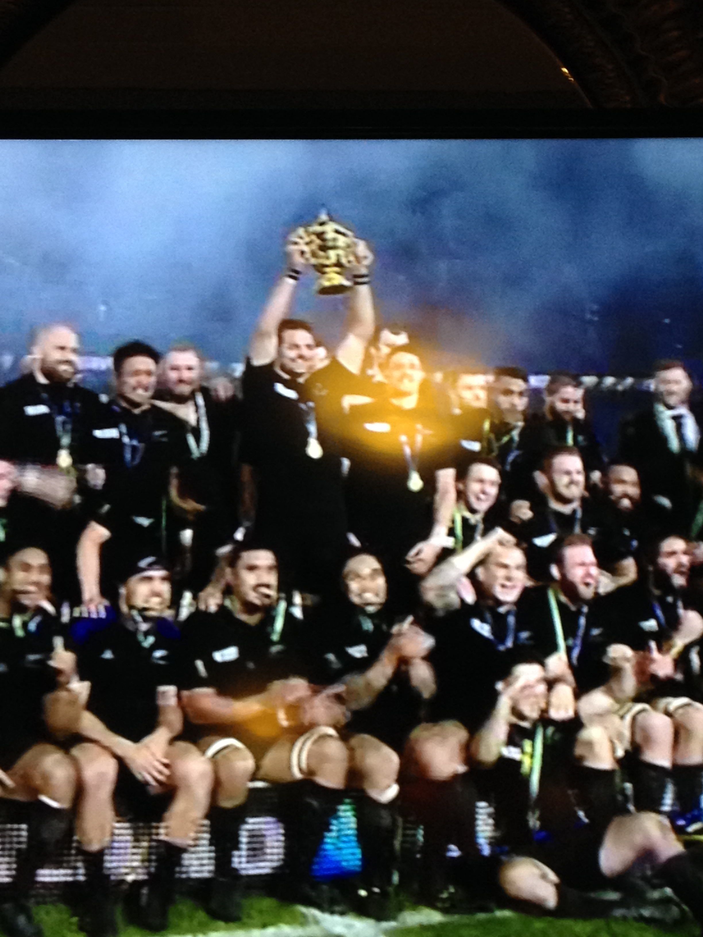 Richie holds the Rugby World Cup victoriously after beating our 'neighbours'
