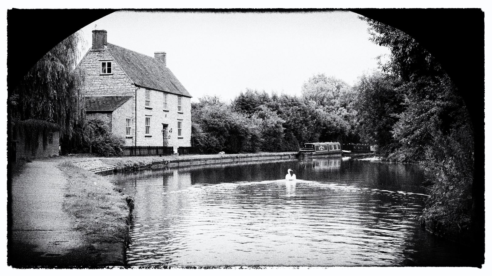 The Grand Union at Linford Manor Park near Milton Keynes. This was the junction of the now filled in Newport Pagnell Canal.
