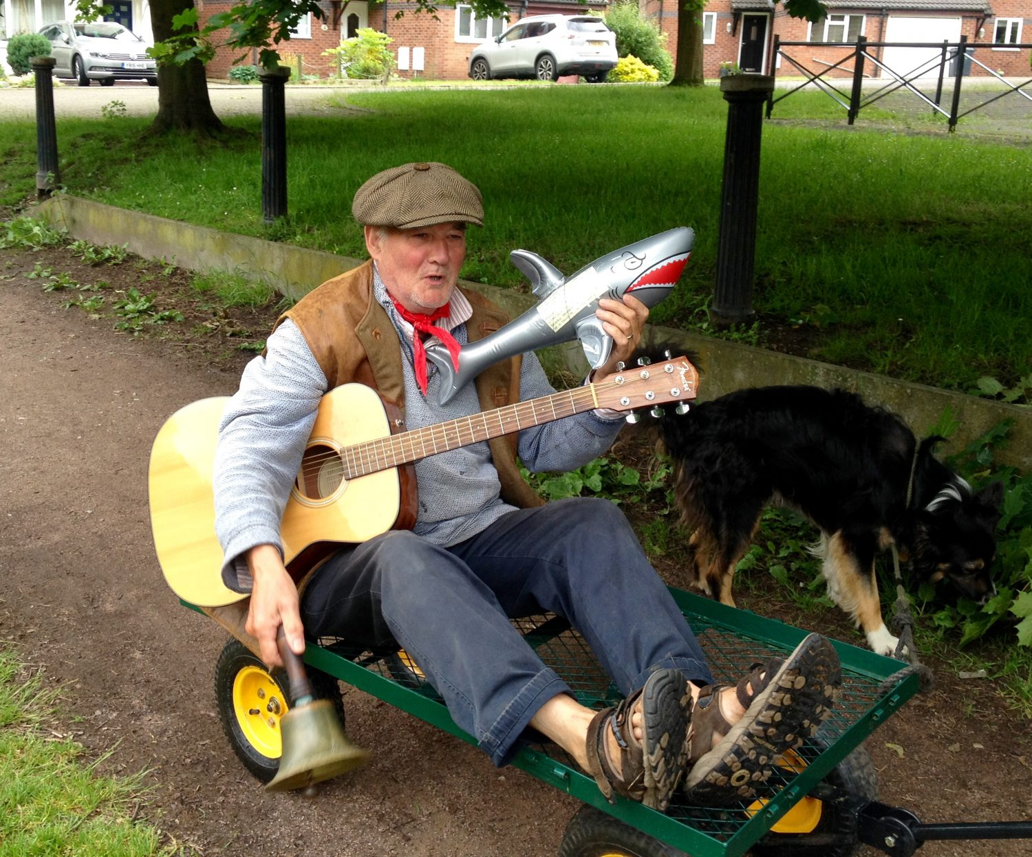 Hitching a ride with Duncan, our boating neighbour, from the band Earl Grey and the Charwallas
