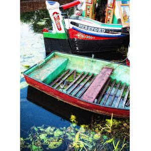 Narrowboat Butty and Rowing Boat