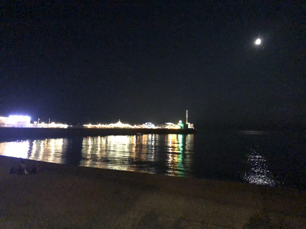 Brighton Beach by moonlight
