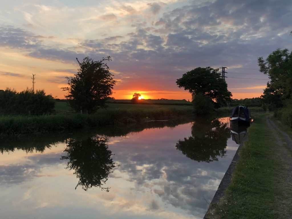 Sublime sunset on the Shropshire Union Canal June 2020