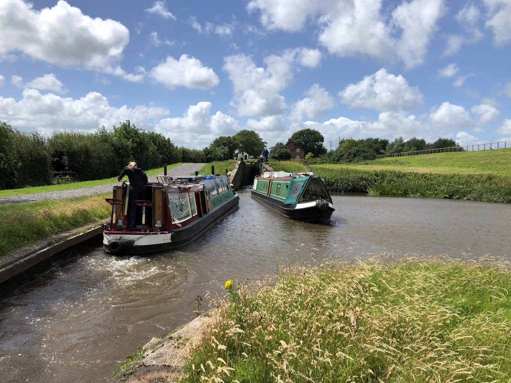 Hurleston Locks on a windy day in July 2020